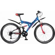 Велосипед Stinger Banzai 16'', 2-х подвес.18ск,синий