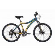 Велосипед HARTMAN Blaze PRO Disk 13 18ск,алюм, черный желтый синий мат.(2020)