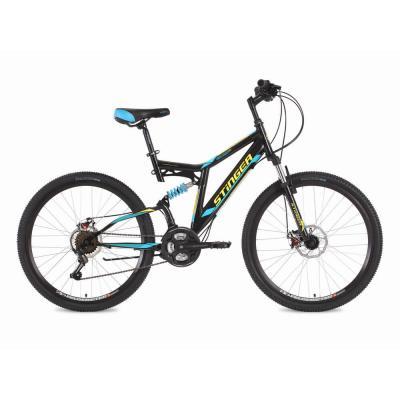Велосипед Stinger Highlander D16'' 2-x подв. сталь, черный