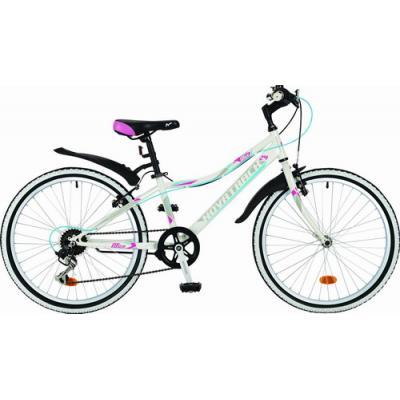 Велосипед NOVATRACK 24'', ALICE,12''V,сталь, 6ск.белый(2021)
