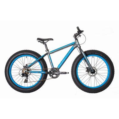 Велосипед HARTMAN Monstr FatBike 7ск. алюм, серо-синий мат. хром